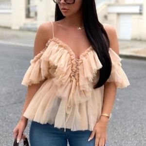 CHRISSIE Cami Off Shoulder Ruffle Detail blouse